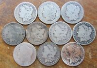 LOT OF 10 LOWER GRADE AND/OR CULL BETTER DATE 1892-S 90 MORGAN SILVER DOLLARS