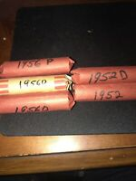 FIVE ROLL SET OF LINCOLN PENNIES 2 1956D, 1 1956P, 1 1952P, & 1 1952D