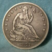 1877 S SEATED LIBERTY SILVER HALF DOLLAR BETTER GRADE DETAIL
