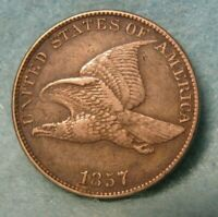 1857 FLYING EAGLE PENNY SMALL CENT HIGH GRADE DETAILS   UNITED STATES COIN