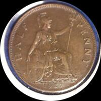 2 GREAT BRITAIN HALF PENNY 1927 1928 OLD COINS