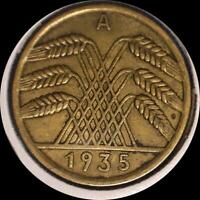 GERMANY 4 OLD COINS 1924A 1924J 1925A 1935A
