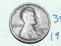 1917 D LINCOLN WHEAT CENT PENNY 3852K FLAWED / CUT & BENT SLIGHTLY