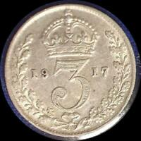4 GREAT BRITAIN THREEPENCE COINS 1912. 1914 1915 1917 ALL STERLING SILVER