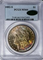 1882-S MORGAN PCGS MINT STATE 66 CAC-VERIFIED COLOR-TONED SILVER DOLLAR, PREMIUM GEM