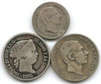 SPANISH PHILIPPINES LOT OF 3 SILVER COINS 10 & 20 CENTIMOS 1868 & 1885