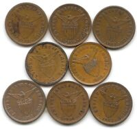 PHILIPPINES DEALER / STUDY LOT OF 8 1903 1/2 CENTAVO COINS KM 162 US TERRITORY