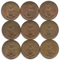 PHILIPPINES DEALER STUDY LOT OF 9 WWII 1944 S 1 CENTAVO COINS IN UNCIRCULED UNC