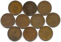 PHILIPPINES LOT OF 10 DIFFERENT 1 CENTAVO COINS 1903   1929 US TERRITORY