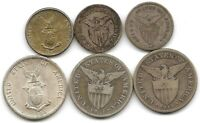 PHILIPPINES LOT OF 6 SILVER 20 & 50 CENTAVOS COINS 1907   1944 US TERRITORY
