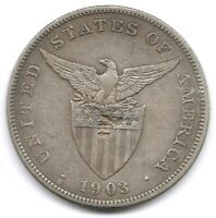 PHILIPPINES SILVER 1903 S 1 PESO COIN KM 168 WITH CHINESE CHOP MARK