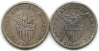 PHILIPPINES LOT OF 2 SILVER 1 PESO COINS KM 172 1907 S & 1909 S US MINTED