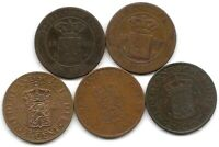 NETHERLANDS EAST INDIES LOT OF 5 DIFFERENT 2 1/2 CENTS COINS 1858   1945