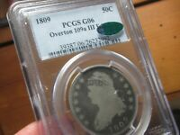 VERY OLD CAPPED BUST HALF DOLLAR  1809  PCGS & CAC  G 06 OVE
