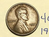 1934 1C BN LINCOLN CENT WHEAT CENT 4615K