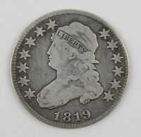 1819 25C CAPPED BUST SMALL 9 SILVER QUARTER VG GOOD CIRCULATED COIN A9633