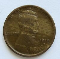 1912-S LINCOLN WHEAT CENT SEMI KEY DATE VF DETAIL PLANCHET FLAW STREAKY PLANCHET