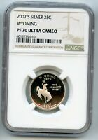 2007S WYOMING  SILVER  QUARTER NGC PERFECT PF70 ULTRA CAMEO