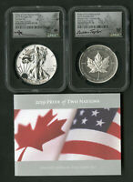 US COIN 2019 W PRIDE OF TWO NATIONS ILVER DOLLAR & MAPLE LEA