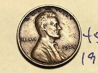 1935 1C BN LINCOLN CENT WHEAT CENT 4550K