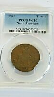 1781 NORTH AMERICAN TOKEN U.S. COLONIAL LARGE CENT COLONIAL