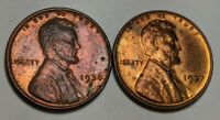 LOT OF LINCOLN WHEAT CENTS 1936-S 1937-P UNCIRCULATED RED BROWN TONED COLOR