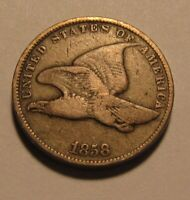 1858 SMALL LETTERS FLYING EAGLE CENT PENNY   FINE CONDITION
