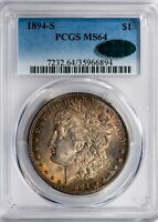 1894-S MORGAN PCGS MINT STATE 64 CAC-VERIFIED TOUGH DATE SILVER DOLLAR, SOLID FOR GRADE