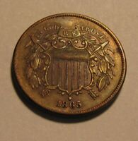 1865 TWO CENT PENNY   EXTRA FINE CONDITION   46SU 2