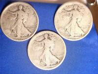 USA 1917 1917 D & 1917 S WALKING LIBERTY 50 CENT SILVER COINS