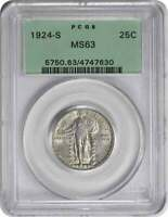1924-S STANDING LIBERTY SILVER QUARTER MINT STATE 63 PCGS