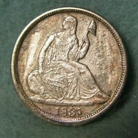 1837 SEATED LIBERTY SILVER HALF DIME HIGH GRADE DETAILS   UNITED STATES COIN