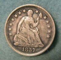 1857 SEATED LIBERTY SILVER HALF DIME BETTER GRADE   UNITED STATES COIN