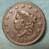 1816 CORONET HEAD LARGE CENT BETTER GRADE   UNITED STATES COIN