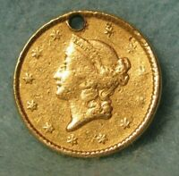 1851 LIBERTY HEAD $1 ONE DOLLAR US GOLD COIN ROTATED REVERSE