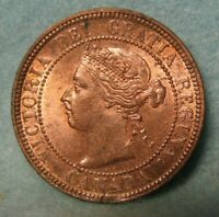 1901 CANADA LARGE CENT ONE PENNY BU RED BROWN KM  7   CANADI