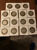 LOT OF 15 WALKING LIBERTY SILVER HALF DOLLARS 1918-1947 AS PICTURED.