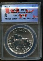 2011 ANACS MS 69 CANADIAN WILDLIFE   GRIZZLY FIRST RELEASE S