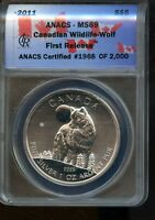 2011 ANACS MS 69 CANADIAN WILDLIFE   WOLF FIRST RELEASE SILV