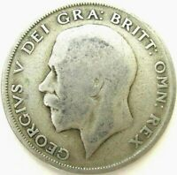 GREAT BRITAIN UK COINS 1/2 CROWN 1921 GEORGE V SILVER 0.500