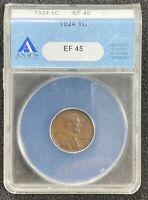 1924 LINCOLN WHEAT CENT ANACS EF45