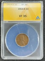 1914-S LINCOLN WHEAT CENT ANACS VF35