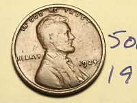1924 1C BN LINCOLN CENT WHEAT CENT 5060K