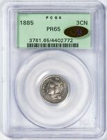 1885 3CN THREE CENT NICKEL PCGS PR65 GOLD CAC LABEL UNDERGRADED PREMIUM GEM