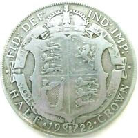 GREAT BRITAIN UK COINS 1/2 CROWN 1922 GEORGE V SILVER 0.500