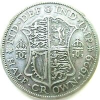 GREAT BRITAIN UK COINS 1/2 CROWN 1929 GEORGE V SILVER 0.500