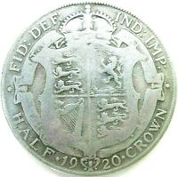 GREAT BRITAIN UK COINS 1/2 CROWN 1920 GEORGE V SILVER 0.500