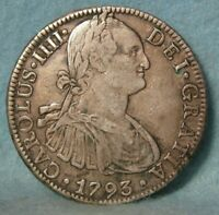1793 MO FM MEXICO 8 REALES WORLD FOREIGN SILVER COIN CROWN K
