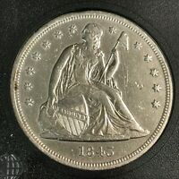 1843 SEATED LIBERTY SILVER DOLLAR XF AU DETAILS   CLEANED