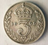 1909 GREAT BRITAIN 3 PENCE   AU   HIGH QUALITY VINTAGE SILVE